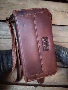 Bruine clutch met telefoonvak - clutch - antiskim clutch - Rezo design
